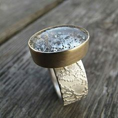 Beautiful..Pyrite in quartz gemstone, 9ct yellow gold and etched silver ring by Sally Grant Jewellery.