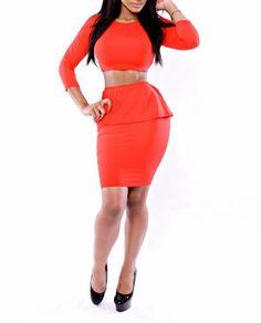 Elegant fashion 2 pieces women O-neck long sleeve high waist cascading ruffle red mini dress sexy bandage bodycon dress