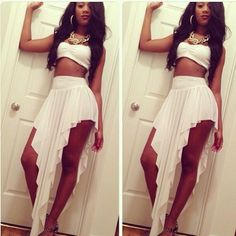 Cute for a birthday outfit or just wanting to look good on a super hot day Dope Fashion, Fashion Killa, All White Outfit, White Dress, Sexy Outfits, Skirt Outfits, Mode Dope, Dress Skirt, Dress Up