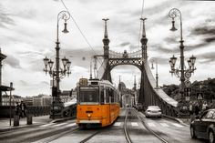 Kunstwerk: 'Boedapest - Liberty Bridge met historische tram' van Carina Buchspies Budapest, Bridge Tattoo, Liberty Bridge, Golden Gate Bridge, Train, Poster, Building, Prints, Photography