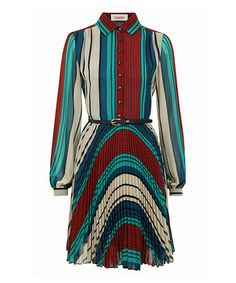 Another great find on #zulily! Red & Blue Stripe Belted Jem Pleated Dress #zulilyfinds