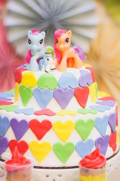 My little pony CAKE! Rainbow Themed My Little Pony Party with Such Cute Ideas via Kara's Party Ideas | KarasPartyIdeas.com #RainbowParty #MyLittlePonyParty #Part...