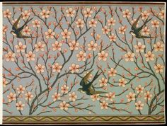 Walter Crane, Almond Blossom and Swallow, 1878, Color woodblock print on paper