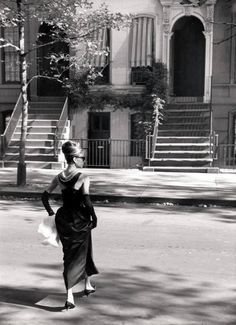 Audrey Hepburn filming Breakfast at Tiffany's,1960. Unknown photographer. Silver gelatin print
