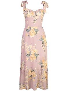 Pink Nikita dress from Reformation featuring a bow detail, a sweetheart neckline, a floral print and a long length. POSITIVELY CONSCIOUS: We. Day Dresses, Cute Dresses, Summer Dresses, Floral Dresses, Pink Dress, Dress Up, Trendy Fashion, Fashion Outfits, Dresses Elegant