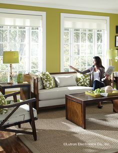 Conveniently protect your furnishings, stop the glare and create an ambiance in your living room with wireless controls from Lutron.