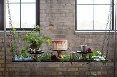 Modern wedding dessert idea - industrial, floating table with wedding cake and greenery {Tracy Walsh | Poser Design}
