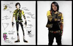 Gerard Way's concept art for the Killjoy character Fun Ghoul, side by side with the final design worn by Frank Iero