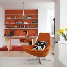 Bright colour adds warmth to this contemporary home office
