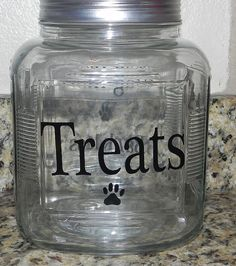 Dog treat jar wag more bark less by SparkleandShineVinyl on Etsy