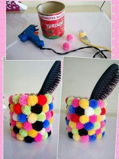 Easy Crafts Ideas at Home Here are some of the most beautiful DIY projects you can try for your self at home If you enjoyed this DIY room dec. Tin Can Crafts, Diy Home Crafts, Jar Crafts, Cute Crafts, Craft Stick Crafts, Bottle Crafts, Creative Crafts, Craft Projects, Crafts For Kids