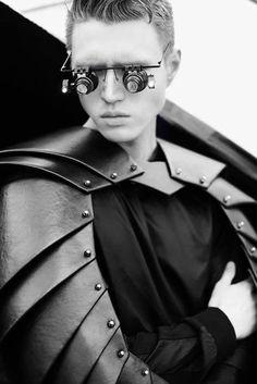 leather armor bolero - Editorial Masculina - shot by Isa Silva - pinned by RokStarroad.com