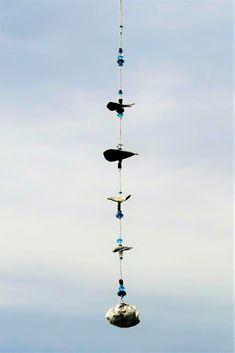 Mobile, windchime, aus Muscheln und Glasperlen, Länge 68 cm