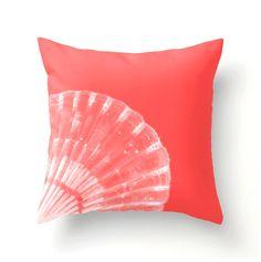 Coral and White Scallop Shell Pillow beach decor by BonnieBruno, $35.00