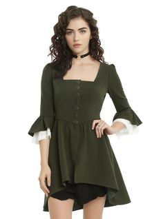 <div>Star in your own historical romance with this jacket from the limited edition <i>Outlander </i>fashion collection. The bodice of this moss green jacket is accented with a single row of burnished gold Jacobite branded buttons and a flattering square neckline. A fitted waistband leads to a peplum with a slight hi-low hem. 3/4 length bell sleeves have a slight puff at the shoulder and have a white lace crochet peeking from the cuffs. Celtic knots are featured as an allover print on the…