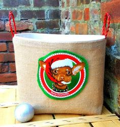 CHRISTMAS GIFT BAG Dog Toys Basket Storage by GretsPetShop on Etsy