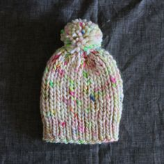 Hand Knit Ribbed Pompom Hat  3 Months  Multi by BleubirdKnits
