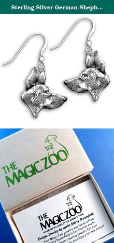 """Sterling Silver German Shepherd Dog Earrings by The Magic Zoo. Lovely and detailed, this handcrafted pair of sterling silver German Shepherd dog earrings are each 3/4"""" tall by 3/4"""" wide. They are a nice size, and will absolutely get noticed! Come to you ready to wear on sterling silver French wires."""