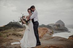 Oregon Coast Elopement, OR, Costal elopement, Oregon Wedding, moody tones, trendy tones, bride and groom photos, wedding dress ideas, traveling photographer, MSP workshop, Morningbird Photography