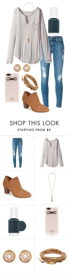 """My heart is perfect because you are inside "" by madelyn-abigail ❤ liked on Polyvore featuring Frame Denim, LAmade, Jack Rogers, Kendra Scott, Essie, Kate Spade, Chanel, Chan Luu, women's clothing and women"