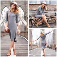 Emma Jane, Brown Ankle Boots, People Around The World, Brooklyn Bridge, Signature Style, Knit Dress, Cool Outfits, Booty, Sweaters