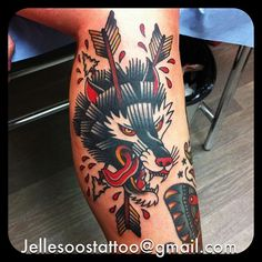 Jelle Nellemans as featured on Swallows & Daggers. www.swallowsndaggers.net #tattoo #tattoos #wolf