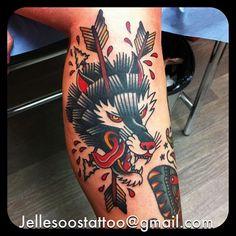 Jelle Nellemans as featured on Swallows & Daggers. www.swallowsndaggers.net #tattoo #tattoos #wolf