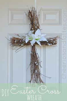 DIY Easter Cross Wreath; a great reminder of the HOPE we have this Easter Season! //cheeriosandlattes.com