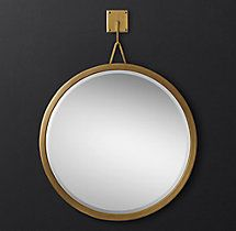 "Pendant Mirror - 30"", 36"", 48"" l Brass, Bronze, & Pol Steel"