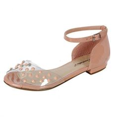 Blush studded flats with ankle strap will add a nice touch to almost any outfit and they are super comfortable too. These are nice for casual and semi-casual wear and can even be worn to an elegant occasion under a long flowing gown. Also in Black,White and Mint at Ladies Paradise Shoes