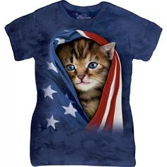 Patriotic Kitten Ladies T-Shirt. #4thOfJuly