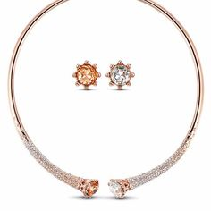 New Fashion Jewelry Rose Gold Plated Flower Jewelry Sets for Women Choker Necklace Earrings Set Party Accessories