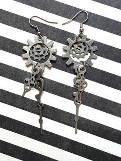 Steampunk Filigree Clock Hand Earrings - Gear Earrings - Neo Victorian Jewelry - Steampunk Jewelry - Gothic Jewelry.
