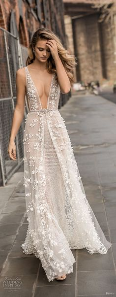berta spring 2018 bridal sleeveless deep plunging v neck full embellishment sexy a  line wedding dress open back sweep train (14) zv mv -- Berta Spring 2018 Wedding Dresses