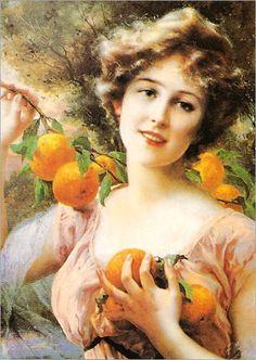 Woman With Oranges - Emile Vernon
