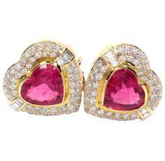 Pink Tourmaline & Diamond 18k Heart Earrings