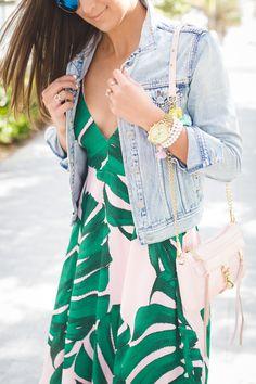 palm print dress, fuchsia lace up sandals, vintage denim jacket, tropical print dress, tropical print maxi, summer maxi // grace wainwright from @asoutherndrawl