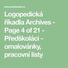 Logopedická říkadla Archives - Page 4 of 21 - Předškoláci - omalovánky, pracovní listy Math Equations