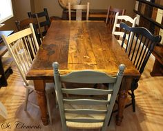 Barn board table and mismatched chairs <3