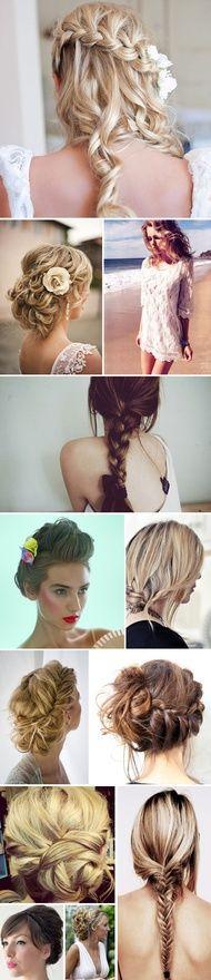 Braided, beach waves wedding hair