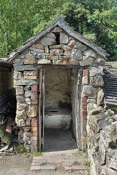 Victorian water closet in back garden of house