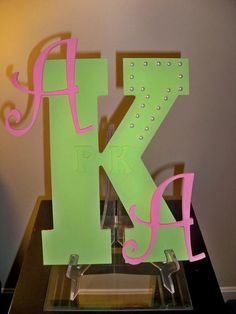 13 inch, apple green and pretty pink AKA letter art.