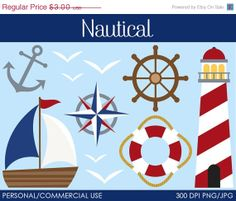 50% OFF - Nautical Clipart - Digital Clip Art Graphics for Personal or Commercial Use
