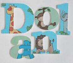 Jungle Wooden Letters / Baby Gift New Baby gift Nursery Wall Art Nursery Decor Nursery letters personalized baby Safari Nursery Art Animal Letters, Baby Letters, Nursery Letters, Nursery Wall Art, Nursery Decor, Nursery Room, Room Decor, Painting Wooden Letters, Painted Letters