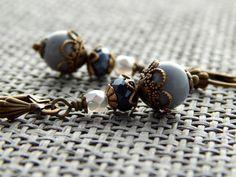 Ohrringe -  Graues Glitzern  von Perlenfontäne auf DaWanda.com