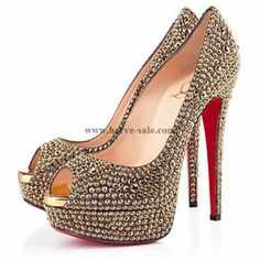 Christian Louboutin Lady Peep Strass 140mm Peep Toe Pumps Gold CL20140054