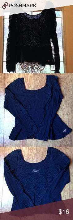 Super Cute Hollister top Adorable top- black cotton/poly mix front with sheer stretch lace back. Also lace down side of sleeves. Ruffle (peplum) bottom. Good condition. Hollister Tops
