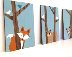 This adorable bear wading through the river in the mountains looks great in any woodland nursery or kids room! The beautiful grain of the natural wood makes the perfect background to this painting, complimenting the woodland nursery theme perfectly. To view more of my bear art and woodland nursery art click here http://etsy.me/1KH7WMk Hand painted on oak plywood - custom painting on wood Measures approximately 12x 24,1/2 thick. Mountains are painted sage green and gray wi...