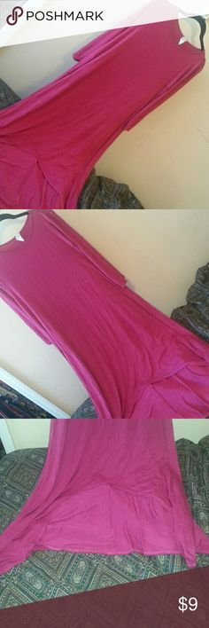 Pink dress (please read) Pink dress, 3/4 sleeves, midi dress, high low, the front is open more to show off your legs, kind of tell in last pic, may have a few wash fuzzies, can stretch some, used one Bellamie Dresses Midi