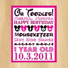 Mickey Minnie Mouse  Birthday Party Signs Disney Clubhouse DIY Custom Signs Subway Art. $7.00, via Etsy.